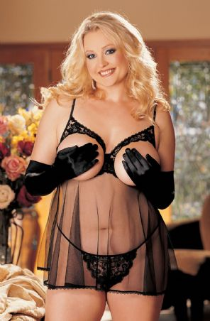 Intimate Attitudes Open Tip Babydoll - Black